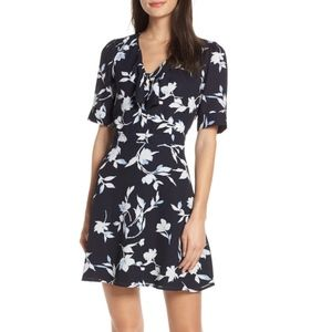 Chelsea28 Tie Front Floral Print Fit & Flare Dress